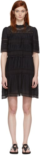 Etoile Isabel Marant Black Lace Trimmed Vicky Dress 0yNK6QX