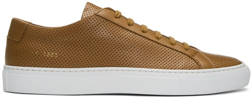 Common Projects Tan And White Achilles Low Perforated Sneakers Mg9HcWIve