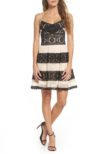 Foxiedox Ophelia Two Tone Lace Fit And Flare Dress Black Nude CnAk8KZB