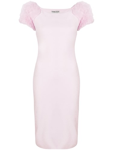 La Petite Robe di Chiara Boni Frilled Sleeves Fitted Dress Pink And Purple cQjvJ