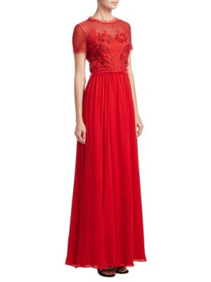 Gown Red Robin Embroidered Jenny Packham Chiffon tqT1xwx4