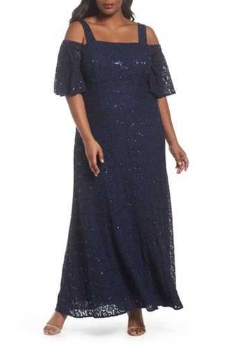 Alex Evenings Plus Size Women's Embellished Lace Cold Shoulder Gown Navy gKums6h8