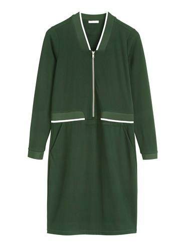 Sandwich Sport Lux Jersey Dress With Front Zip Fastening Avocado reH8mPUC