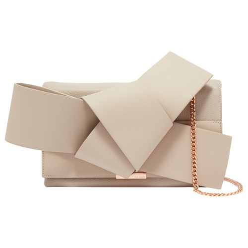 Ted Baker Asterr Leather Giant Knot Bow Evening Bag Taupe vJJdZE