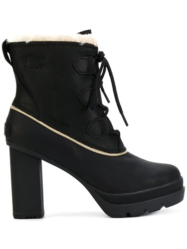 Sorel Ankle Length Boots Cotton Leather Rubber Black hGbSNT