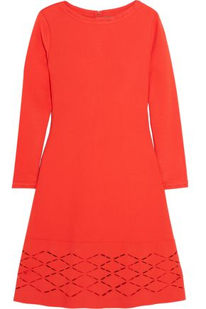 Lela Rose Laser Cut Stretch Knit Mini Dress Tomato Red O2JQjfz
