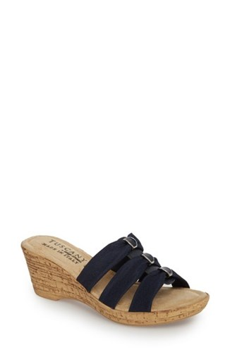 Tuscany 'S By Easy Street Andrea Wedge Slide Navy Fabric VmwDgY