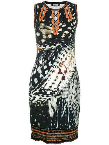 Roberto Cavalli Printed Fitted Dress Multicolour ojXVD51