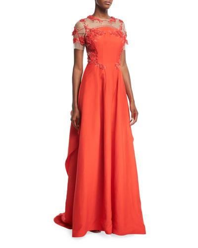 Pamella Roland Silk Faille Evening Gown With Floral Embroidery Red mRLf4OWUty