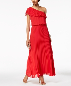 Xscape Evenings Pleated Chiffon One Shoulder Gown Red Hm1WQxm