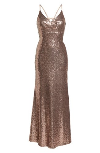 Morgan & Co. Keyhole Back Sequin Gown Rose Gold ZF9xV