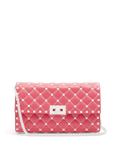 Valentino Free Rockstud Spike Quilted Leather Clutch Pink White Cj90Y