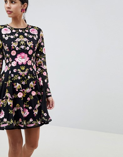 Embellished Black Floral Dress ASOS Beautiful Skater Edition UtwEqEazn