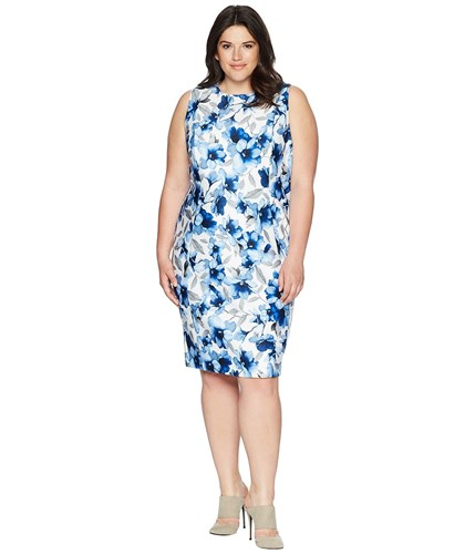 Calvin Klein Plus Plus Size Printed Scuba Dress Regatta Blue Ice Blue tL12PH