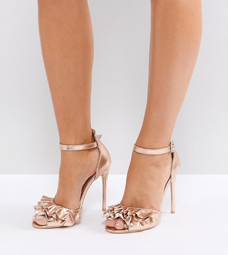Lost Ink Wide Fit Rose Gold Ruffle Heeled Sandals Rose Gold conDG2s
