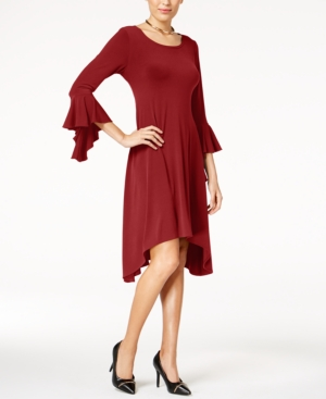 Alfani Asymmetrical Bell Sleeve Dress Created For Macy's Banner Red 9bhkvT6