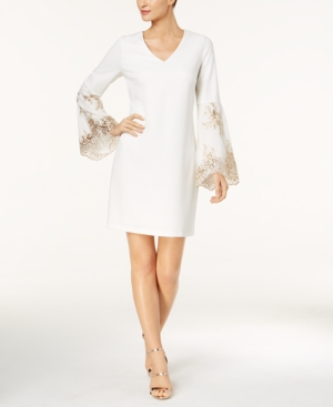 Bell Sleeve MSK Ivory Embellished Dress Gold Shift xCwAq1SnqW