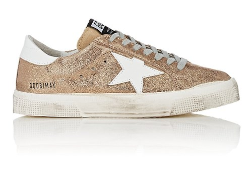 Golden Goose Women's May Cracked Leather Sneakers Gold Bm4n1JHIcS