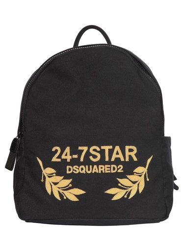 DSquared Logo Embroidered Canvas Backpack fyECsC