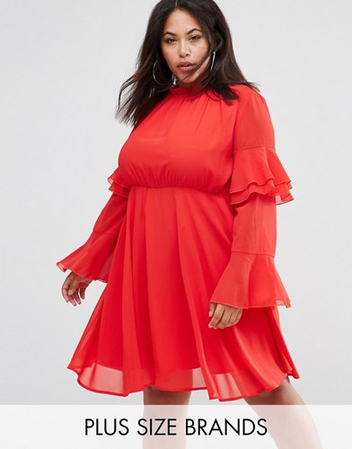 Club L Plus High Neck Detailed Tiered Arm Dress Red Solid yZ6jYdZQ