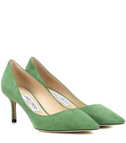 Jimmy Choo Romy 60 Suede Pumps Green kTowsE