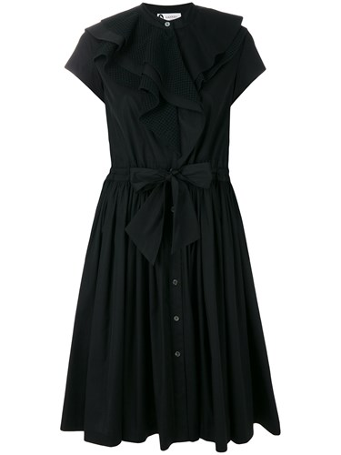Lanvin Poplin Ruffle Dress Black hCwMksa5