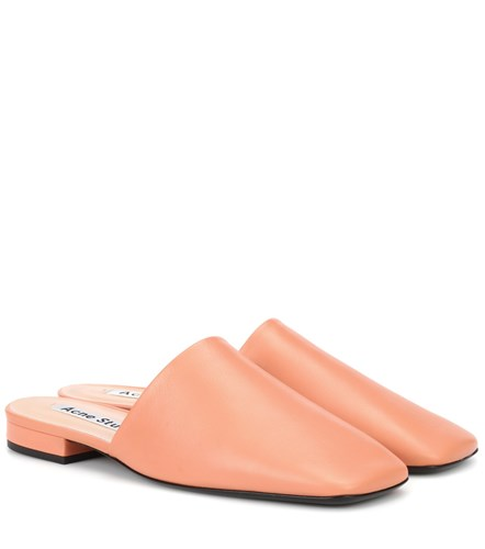 Acne Studios Tessey Leather Slippers Pink qOByqZUHzg