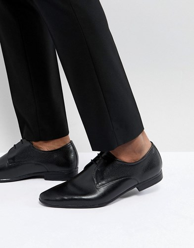 Pier One Leather Embossed Derby Shoes In Black bjZZ5JFPV
