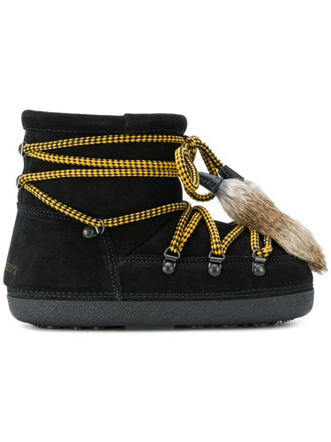 DSquared Dsquared2 Shearling Lined Boots Suede Lamb Fur Rubber Black IxXkkI