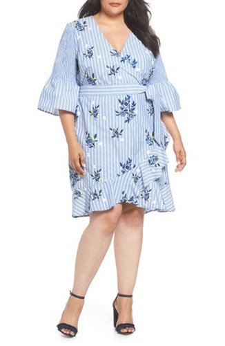 ECI Plus Wrap Women's White Stripe Dress Blue Embroidered Size FFqrg