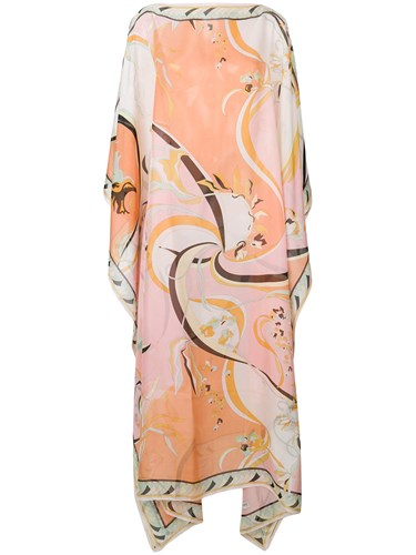 Emilio Pucci Floral Print Kaftan Dress Silk Multicolour vCEIdo2X