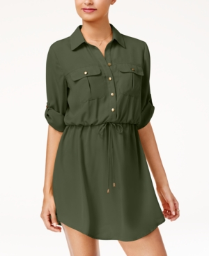Be Bop Juniors' Roll Tab Shirt Dress With Utility Pockets Olive W8ibG4K