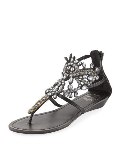 Premium Collection by Yellow Box P Araminta Embellished Wedge Sandal Black RY9XDL