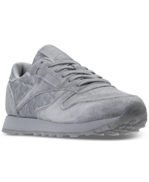 Reebok Women's Classic Leather Casual Sneakers From Finish Line Meteor Grey White Jnge7X