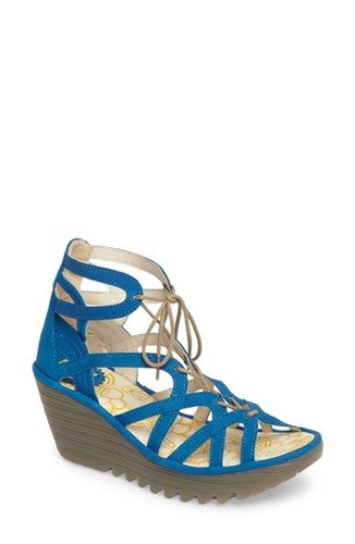 Fly London Women's 'Yuke' Platform Wedge Sandal Electric Blue Leather d6DQAi