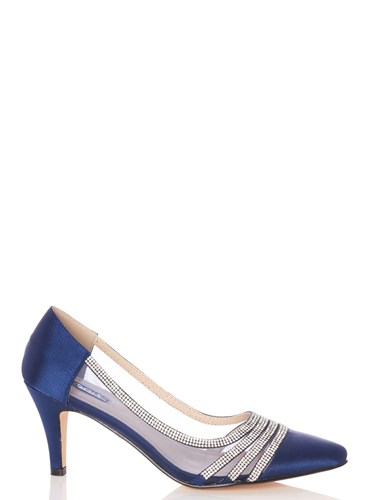 Dorothy Perkins Quiz Navy Satin Point Court Shoes Blue V1aOy