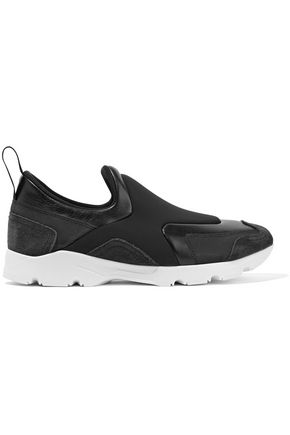 Maison Martin Margiela Leather And Suede Trimmed Neoprene Sneakers Black lrZo2mHz