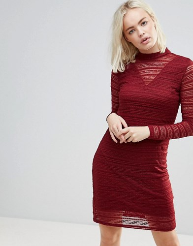 B.young Lace Dress With Sheer Panels Burgundy Red BdLZK