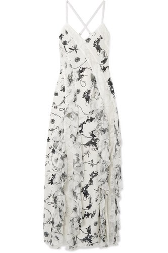 Alice + Olivia Jayda Lace Trimmed Ruffled Floral Print Silk Crepe De Chine Maxi Dress White tSJve8ZVi