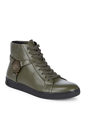 Versus By Versace Lace Up Leather High Top Sneakers Red SMLYSJt3C