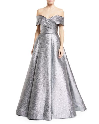 Silver Shoulder Off Metallic Jovani Ball The Gown 6qz6wY