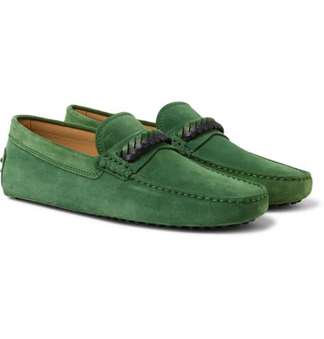Tod's Gommino Leather Trimmed Suede Driving Shoes Green XmLJkpu1D