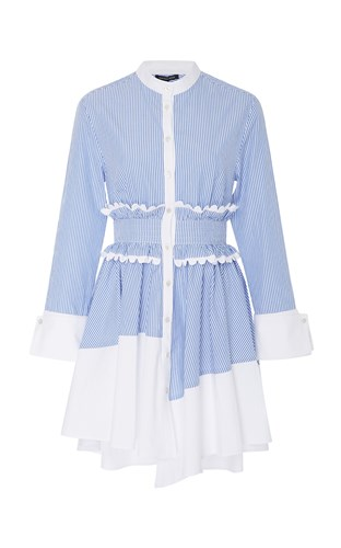 Marissa Jada Webb Blue Dress Stripe Shirt pA1x4Hqwp