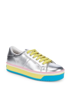 Marc Jacobs Empire Leather Platform Sneakers Silver Yellow OgBRCYd3