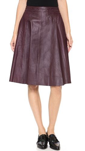 otto d ame pelle gonna leather skirt bordeaux nuji