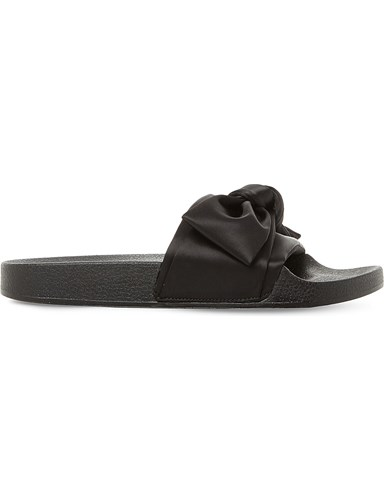 Steve Madden Silky Sm Satin Bow Sliders Black Satin PiQA7WK