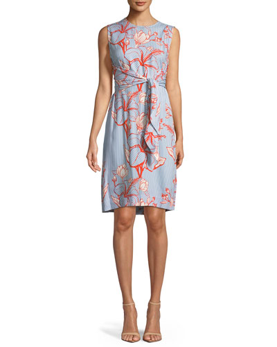 Lela Rose Sleeveless Tie Waist Striped Floral Print Tunic Dress Blue Pattern oVNf8ggsY8