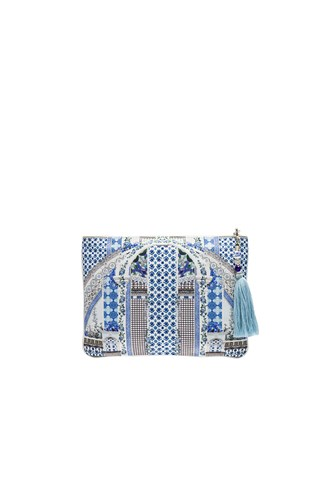 Camilla Small Canvas Clutch Blue FJiNZOwoT