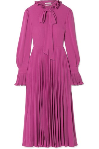 Midi Trimmed Co Pleated Crepe Ruffle Dress Magenta xSCzp4