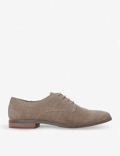 Dune Fexton Perforated Suede Shoes Stone Suede itlavq